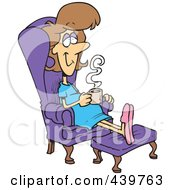 Royalty Free RF Clip Art Illustration Of A Cartoon Pregnant Woman Relaxing In A Chair With A Warm Beverage by toonaday