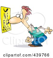 Royalty Free RF Clip Art Illustration Of A Cartoon Black And White Outline Design Of A Man Trying To Read An Eye Chart