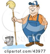 Friendly Male Custodian Standing By A Bucket And Holding A Mop