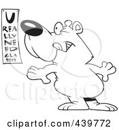Royalty Free RF Clip Art Illustration Of A Cartoon Black And White Outline Design Of A Bear Reading An Eye Chart