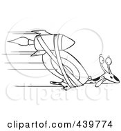 Royalty Free RF Clip Art Illustration Of A Cartoon Black And White Outline Design Of A Rocket Strapped Onto An Express Mail Snail by toonaday