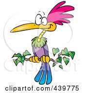 Royalty Free RF Clip Art Illustration Of A Cartoon Exotic Bird Perched On A Branch