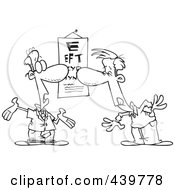 Cartoon Black And White Outline Design Of A Man Reading An Eye Chart