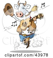 Clipart Illustration Of A Dancing Cow Playing Country Music With A Guitar by Holger Bogen #COLLC43978-0045
