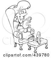 Royalty Free RF Clip Art Illustration Of A Cartoon Black And White Outline Design Of A Pregnant Woman Relaxing In A Chair With A Warm Beverage by toonaday