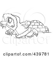 Royalty Free RF Clip Art Illustration Of A Cartoon Black And White Outline Design Of A Frozen Eskimo Near An Igloo