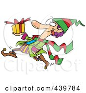 Royalty Free RF Clip Art Illustration Of A Cartoon Christmas Elf Running With A Gift