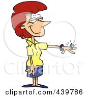 Royalty Free RF Clip Art Illustration Of A Cartoon Engaged Woman Showing Her Ring by toonaday