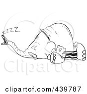 Royalty Free RF Clip Art Illustration Of A Cartoon Black And White Outline Design Of A Sleeping Elephant