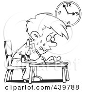 Royalty Free RF Clip Art Illustration Of A Cartoon Black And White Outline Design Of A Stressed School Boy Taking An Exam