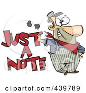 Royalty Free RF Clip Art Illustration Of A Cartoon Engineer Leaning On Just A Note Text by toonaday