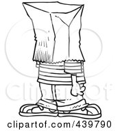 Royalty Free RF Clip Art Illustration Of A Cartoon Black And White Outline Design Of An Embarrassed Boy With A Bag On His Head by toonaday