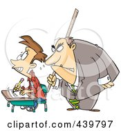 Royalty Free RF Clip Art Illustration Of A Cartoon Intimidating Teacher Watching A Stressed School Boy Taking An Exam