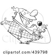 Royalty Free RF Clip Art Illustration Of A Cartoon Black And White Outline Design Of A Loud Entertainer