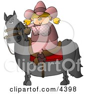 Teenage Cowgirl Riding A Saddled Horse With Reins Clipart
