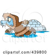 Royalty Free RF Clip Art Illustration Of A Cartoon Frozen Eskimo Near An Igloo by toonaday