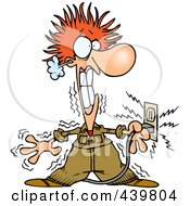 Royalty Free RF Clip Art Illustration Of A Cartoon Electrician Being Electrocuted