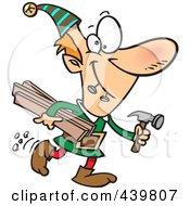 Cartoon Christmas Elf Carrying Lumber And A Hammer