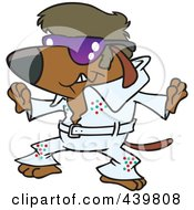 Royalty Free RF Clip Art Illustration Of A Cartoon Elvis Impersonator Dog Dancing by toonaday