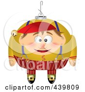 Royalty Free RF Clip Art Illustration Of A Cartoon Black And White Outline Design Of A Christmas Elf Ornament 1