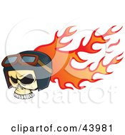 Flaming Biker Skull Wearing Goggles And A Helmet