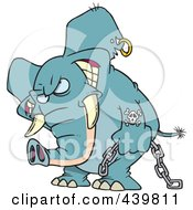 Royalty Free RF Clip Art Illustration Of A Cartoon Evil Elephant Carrying A Chain by toonaday