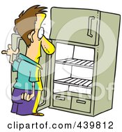 Royalty Free RF Clip Art Illustration Of A Cartoon Man Staring In An Empty Fridge by toonaday