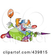 Royalty Free RF Clip Art Illustration Of A Cartoon Evil Clown With A Balloon And Sharp Umbrella by toonaday