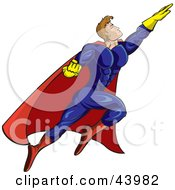 Clipart Illustration Of A Strong Flying Male Super Hero In A Blue Yellow And Red Uniform
