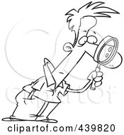 Royalty Free RF Clip Art Illustration Of A Cartoon Black And White Outline Design Of A Man Leaning Forward And Examining With A Magnifying Glass