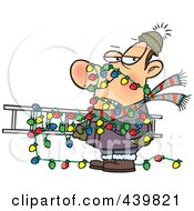 Royalty Free RF Clip Art Illustration Of A Cartoon Man Tangled In Christmas Lights Carrying A Ladder