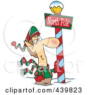 Royalty Free RF Clip Art Illustration Of A Cartoon Christmas Elf Leaning Against A North Pole Post