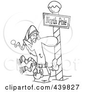 Royalty Free RF Clip Art Illustration Of A Cartoon Black And White Outline Design Of A Christmas Elf Leaning Against A North Pole Post