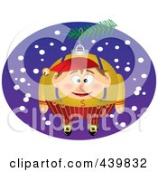 Royalty Free RF Clip Art Illustration Of A Cartoon Black And White Outline Design Of A Christmas Elf Ornament 4