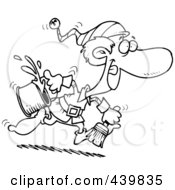 Royalty Free RF Clip Art Illustration Of A Cartoon Black And White Outline Design Of A Christmas Elf Running With Paint