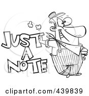Royalty Free RF Clip Art Illustration Of A Cartoon Black And White Outline Design Of An Engineer Leaning On Just A Note Text by toonaday