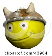 Clipart Illustration Of A Happy Yellow 3d Viking Smiley Face Wearing A Horned Helmet