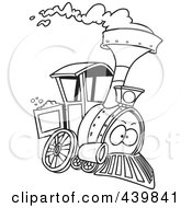 Royalty Free RF Clip Art Illustration Of A Cartoon Black And White Outline Design Of A Steam Engine Train by toonaday