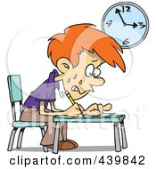 Royalty Free RF Clip Art Illustration Of A Cartoon Stressed School Boy Taking An Exam
