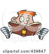 Royalty Free RF Clip Art Illustration Of A Cartoon Enthralled Boy Reading A Book