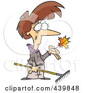 Royalty Free RF Clip Art Illustration Of A Cartoon Sad Woman Raking Autumn Leaves by toonaday