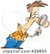 Royalty Free RF Clip Art Illustration Of A Cartoon Man Leaning Forward And Examining With A Magnifying Glass