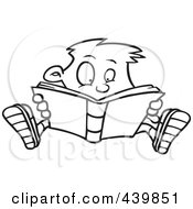 Royalty Free RF Clip Art Illustration Of A Cartoon Black And White Outline Design Of An Enthralled Boy Reading A Book