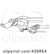 Royalty Free RF Clip Art Illustration Of A Cartoon Black And White Outline Design Of A Fast Rabbit Shooting Past With Springs