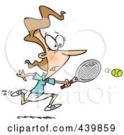 Royalty Free RF Clip Art Illustration Of A Cartoon Woman Chasing An Elusive Tennis Ball by toonaday