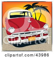 Vintage Red Automobile Parked On A Cuban Beach At Sunset