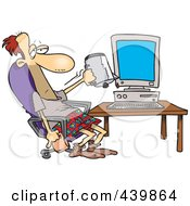 Royalty Free RF Clip Art Illustration Of A Cartoon Man Holding A Coffee Mug Upside Down In Front Of A Computer