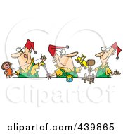 Royalty Free RF Clip Art Illustration Of Cartoon Three Christmas Elves Making Toys