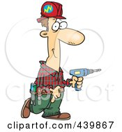 Cartoon Male Electrician Carrying A Drill