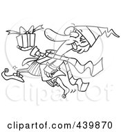 Royalty Free RF Clip Art Illustration Of A Cartoon Black And White Outline Design Of A Christmas Elf Running With A Gift
